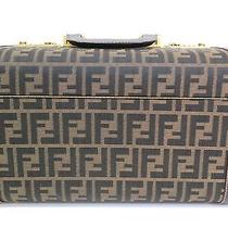 Auth Fendi Vanity Bag Zucca Canvas/leather Brown (Bf073407) Photo