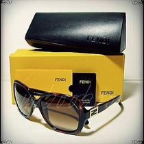 Auth Fendi Women Designer Sunglasses Tortois Havana Frame Brown Gradient Lens Photo