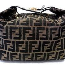Auth Fendi Zucca Cosmetic Make Pouch Vanity Hand Bag Purse Brown Pochette Photo