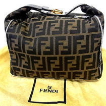 Auth Fendi Zucca Leather Pvc Cosmetic Make Pouch Vanity Hand Bag Purse Brown Photo