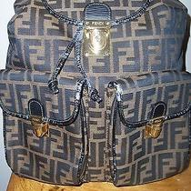 Auth Fendi Zucca Pattern Backpack Hand Bag Brown Canvas Leather Italy Photo