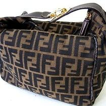 Auth Fendi Zucca Pvc Leather Cosmetic Make Pouch Vanity Handbag Purse Brown Photo
