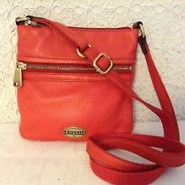 Auth. Fossil Crossbody in Tuscan Red Glove Leather and Bold Brass Hardware Photo