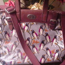 Auth Fossil Large Key-Per 'Birds' Tote Bag Satchel Photo
