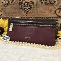 Auth Fossil Preston Flap Clutch Leather Wallet Guc Burgundy & Brown Sl 5032 Photo