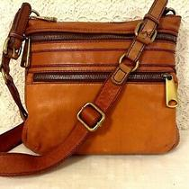 Auth. Fossil Rustic Crossbody Natural Brown Glove Leather Bold Brass Hardware Photo