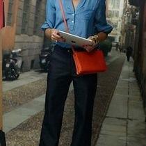 Auth Fw 2014  New Celine Trio Bag Orange Small Clutch Crossbody Bag  Receipt Photo