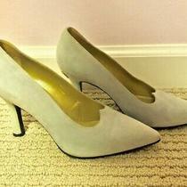 Auth Gianni Versace Medusa Blue Suede Pumps Heels Shoes Italy 37 1/2  Photo