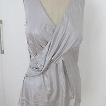 Auth. Graham and Spencer High End Velvet Collection Silver Faux Wrap Top Sz S Photo