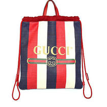 Auth Gucci 473872 Red/white/navy Stripe Logo Canvas Drawstring Backpack Tote Bag Photo