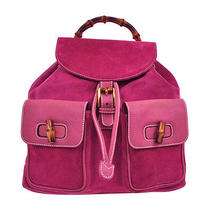 Auth Gucci Bamboo Backpack Hand Bag Pink Suede Leather Italy Vintage Lp12326 Photo