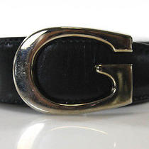Auth Gucci Black Leather Medium Width Notch Belt Sz 75/30 Photo