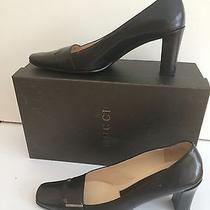 Auth. Gucci Black Leather Pumps sz.8b Excellent Photo