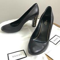 Auth. Gucci Black Studded Block Heel Round Toe Heel Pump Shoe Sz 37.5 Photo