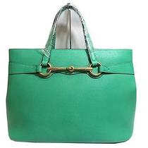 Auth Gucci Bright Bit Leather Top Handle Bag Green Photo