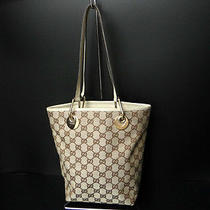Auth Gucci Canvas and Leather Gg Signature Tote Hand Bag Beige 25100486200 4 Photo