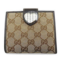 Auth. Gucci Canvas Wallet Brown Photo