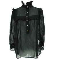 Auth Gucci Frill Collar See Through Blouse Black 36 Cotton 100% Italy M00492 Photo