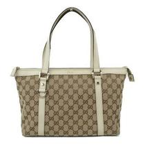 Auth Gucci Gg Canvas Tote Hand Shoulder Bag 141470 Canvas Leather Beige White Photo