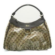 Auth Gucci Gg Crystal Canvas D Ring Hobo Handbag Beige Brown Photo