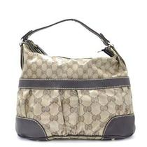 Auth Gucci Gg Crystal One Shoulder Bag 223965 Pvc Leather Beige Dark Brown Used Photo