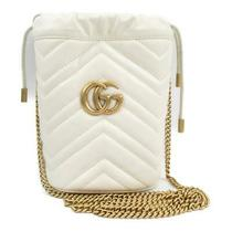 Auth Gucci Gg Marmont Chain Shoulder Bag 575163 Calf Leather Off White Ghw Used Photo