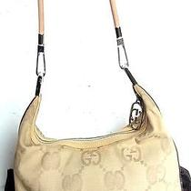 Auth Gucci Gg Monogram Shoulder Tote Hand Bag Hobo Purse Canvas Leather Beige Photo