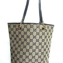 Auth Gucci Gg Monogram Shoulder Tote Hand Bag Purse Leather Canvas Black Photo