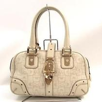 Auth Gucci Leather Handbag Off-White Boston Bag Photo