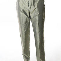Auth Gucci Light Green Metallic Silk Classic Straight Casual Dress Pants Sz 40 Photo