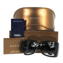 Auth Gucci Logos Sunglasses Eye Wear Black Plastic Italy Vintage Box Lp04621 Photo