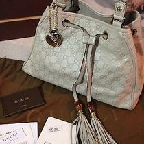 Auth Gucci Should Bag Canvas Logo With Banboo Accent Rare Like New Photo