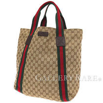Auth Gucci Tote Bag Original Gg Canvas 189669 F4for 9791 Beige Brown Gr 1873474 Photo