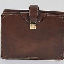 Auth Gucci Vintage Brown Leather Vanity Case Necessaire Cosmetic Case Bag As277 Photo