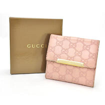 Auth Gucci Wallet Bifold Pink Leather - E3790 Photo