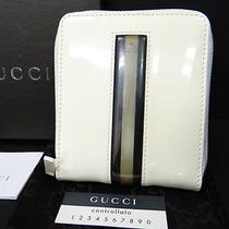 Auth Gucci Wallet Bifold Purse Zip-Around Enamel Leather White 13110740500 4167 Photo
