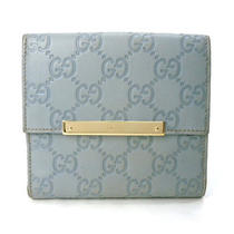 Auth Gucci Wallet Bifold Sky Blue Leather - E0995 Photo