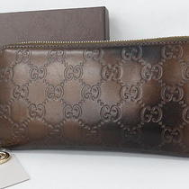 Auth Gucci Wallet Guccissima Zipper Round Purse Leather Brown 17110389900 2288 Photo