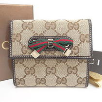Auth Gucci Wallet Trifold Gg Logo Monogram Sherry Line Canvas 26120163400 709b Photo