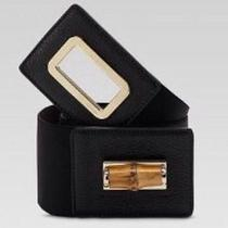 Auth Gucci Womens Black Belt W Bamboo Turn Lock Buckle Sold Out Retail 463.00 Sm Photo