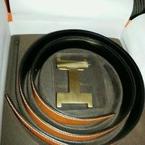 Auth Hermes 18k Thick Gold Plated H Buckle Reversible Genuine Leather 90cm Belt Photo