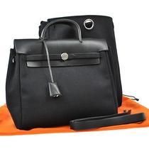 Auth Hermes 2 in 1 Her Bag Backpack Hand Bag Bk Toile Officier Leather Lp08638 Photo