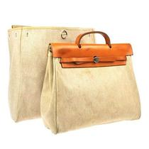 Auth Hermes 2in1 Her Bag Mm Hand Bag Camel Beige Toile H Leather France Lp08689 Photo
