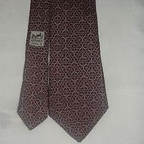 Auth Hermes 7078 Oa Maroon Clover White Men Silk Neck Tie Photo