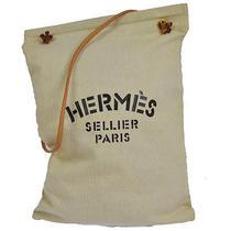 Auth Hermes Aline Shoulder Tote Bag Ivory Cotton Leather Vintage France S01482 Photo