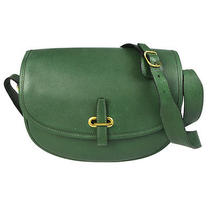 Auth Hermes Balle De Golfe  Shoulder Bag Leather Green France Vintage 67t565 Photo