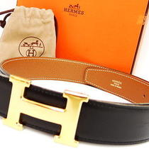 Auth Hermes Belt H Gold Buckle Leather Black Size 70 a France 17110187300 6 Photo