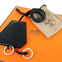 Auth Hermes Black Leather Clochette 2 Rings Holder Necklace France W/box Photo