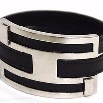 Auth Hermes  Bracelet Leather Black Silver Metal Fittings (271248) Photo