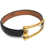 Auth Hermes Bracelet Leather/metal Gold/black (Bf057605) Photo